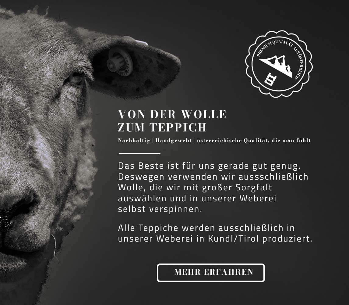 Wollteppich auf Maß, handgewebt in Tirol